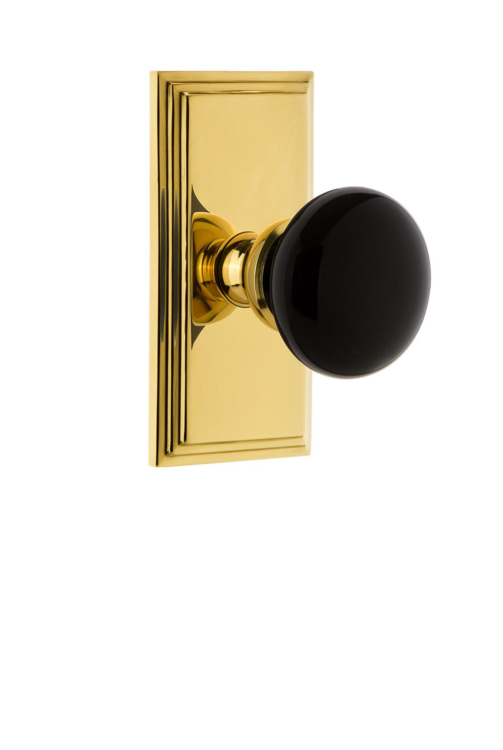 2.375 Lifetime Brass Grandeur Hardware 852909 Carre Rosette with Coventry Knob Privacy Backset Size