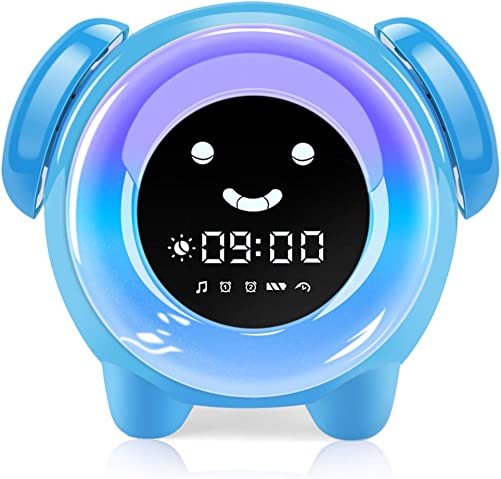 KNGUVTH Kids Alarm Clock, Updated Version Sleep Training Kids Clock with 7 Changing Colors Teach Girls Boys Time to Wake up, 6 Alarm Rings, NAP Timer, Rechargeable Battery USB Charging Clock Blue