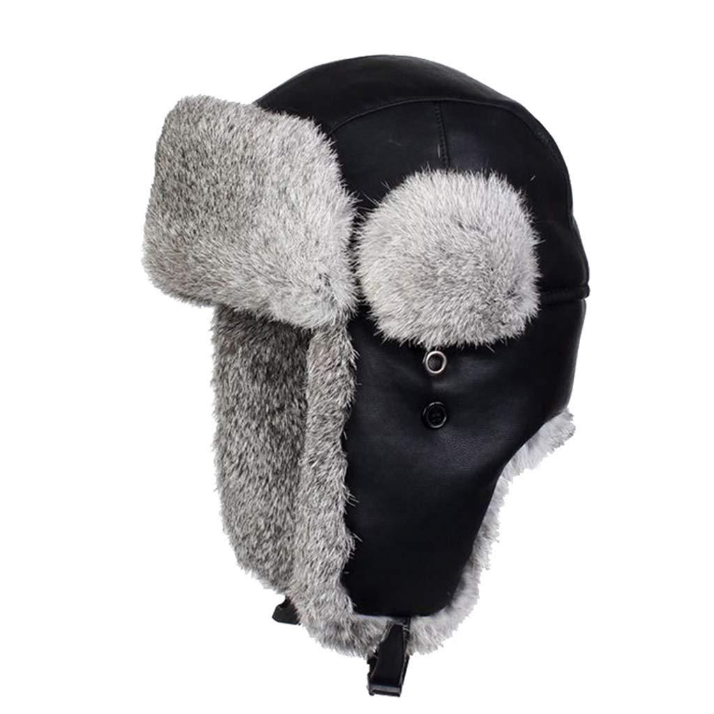 3f80266b1a Amazon.com  Bomber Cap Leather Rabbit Fur Aviator Hat Men s Winter Warm Snow  Cap Russian Hats  Sports   Outdoors