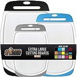GORILLA GRIP Original Oversized Cutting Board, 3 Piece, BPA Free, Dishwasher Safe, Juice Grooves, Larger Thicker Boards…