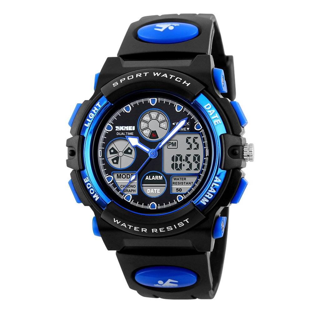 Kids Digital Watch Children Analog Dual Time Zone Waterproof Watches Alarm Stopwatch for Boy Girls-Blue