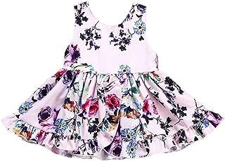Jimmackey- Bambina Volant Diviso Vestito Stampa Floreale Principessa Tutu Abito Neonata Dress