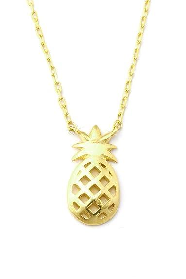 aeaa8f38a5fa Plata de ley 925 - Collar  Piña  - oro color  Amazon.es  Joyería