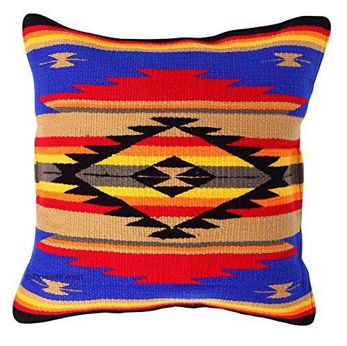 Throw Pillow Covers 20 X 20, Hand Woven Southwest, Mexican, and Native American Styles. Hand Crafted Western Decorative Pillow Cases (Royal Blue and ()