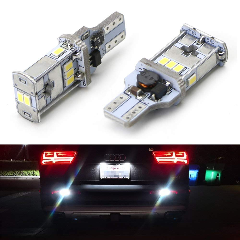 iJDMTOY Exclusive Designed CAN-bus Error Free Xenon White LED Backup Light Bulbs For Audi Q3 Q5 Q7 No Bulb Out Warning
