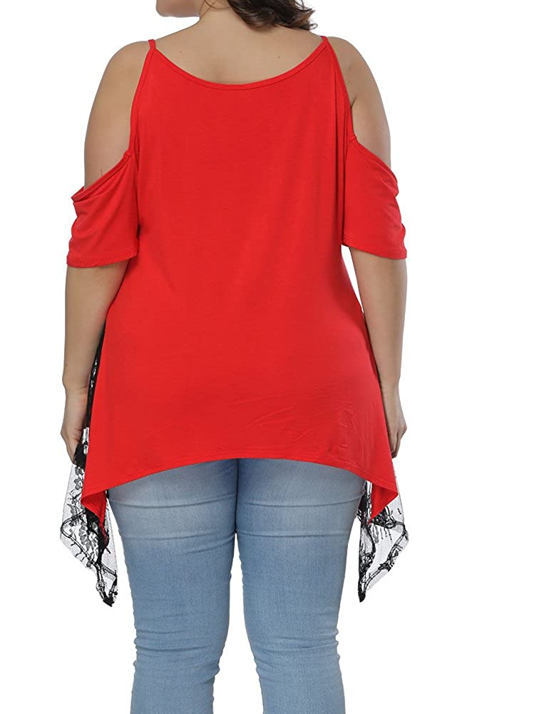 102ed254920c3 Allegrace Women Plus Size Strap Lace Hem Tops Cold Shoulder Summer T Shirt  Red 1X at Amazon Women s Clothing store
