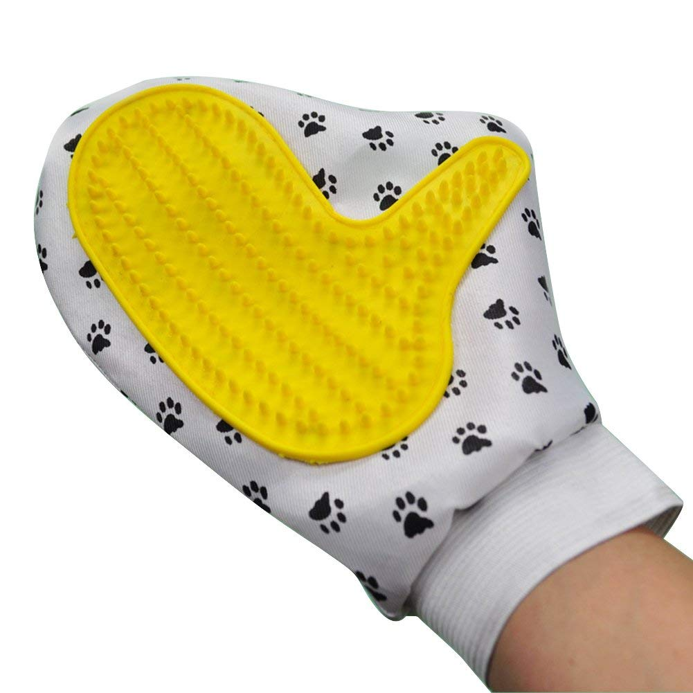 Yevison Pet Dog Cat Cleaning Brush Massage Comb Bath Shower Hair Removal Grooming Glove Pet Bath Massage Silicone Gloves Yellow Durable and Useful
