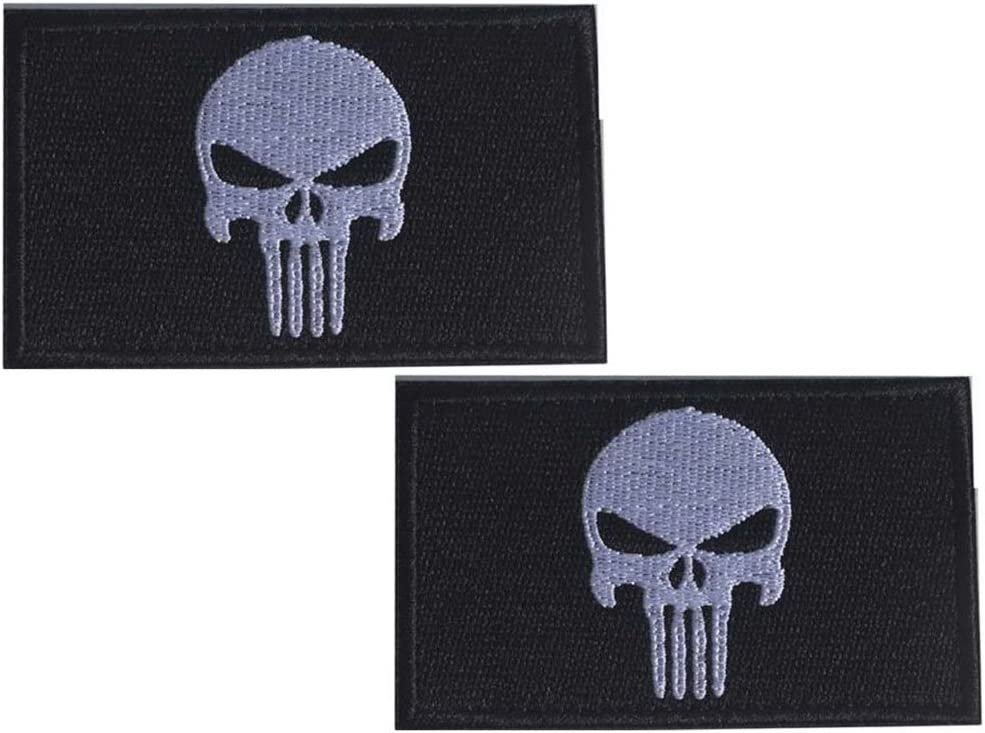HFDA Bundle 2 pieces Punisher Tactical Morale Patch with Backing Decorative Embroidered Badge appliques Color 13