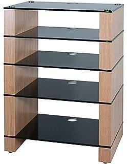 Hifi Stand, Hi Fi Rack, AV Audio Stand. Oak With Five Black
