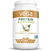 Vega Protein & Greens Coconut Almond (25 Servings, 26.5 Ounce)- Plant Based Protein Powder, Keto-Friendly, Gluten Free, Non Dairy, Vegan, Non Soy, Non GMO - (Packaging May Vary)