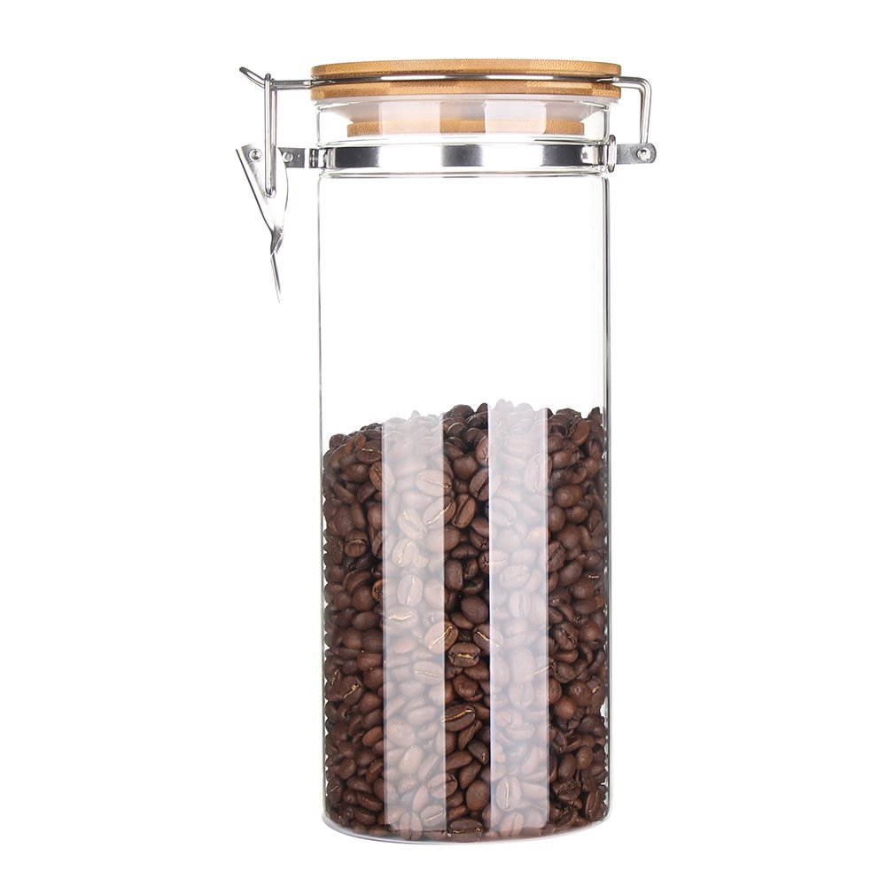 3e Home 23-2900 Large Coffee Canister, Container, Jar Ground Whole Bean, Glass Body Bamboo Cap 55Oz Capacity