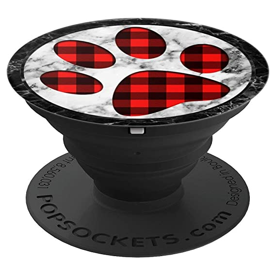 e27d065f Marble Black Red Plaid Dog & Cat paw print buffalo Christmas - PopSockets  Grip and Stand for Phones and Tablets