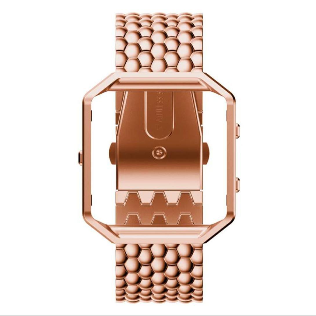 For Fitbit Blaze Watch ,Binmer(TM) Luxury Stainless Steel Bracelet Smart Watch Band Strap (Rose Gold)