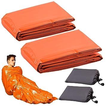Portable Bivy Sack for Outdoor Hiking Camping Lightweight Waterproof Thermal Survival Sleeping Bag WXJ13 2 Packs Emergency Sleeping Bag