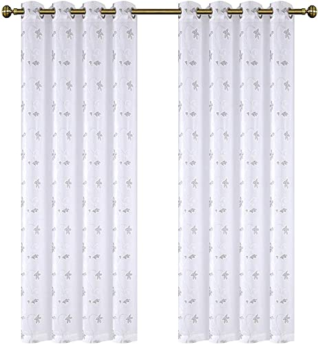 DOOYEE Embroidered White Sheer Curtains for BedroomFaux Linen Translucent Voile Curtains for Kids Room,2 Panels,54 inch X95 inch Silver