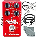 TC Electronic Hall Of Fame 2 Reverb Effects Pedal for Electric Guitars and Accessory Bundle w/ Cables + Fibertique Cloth