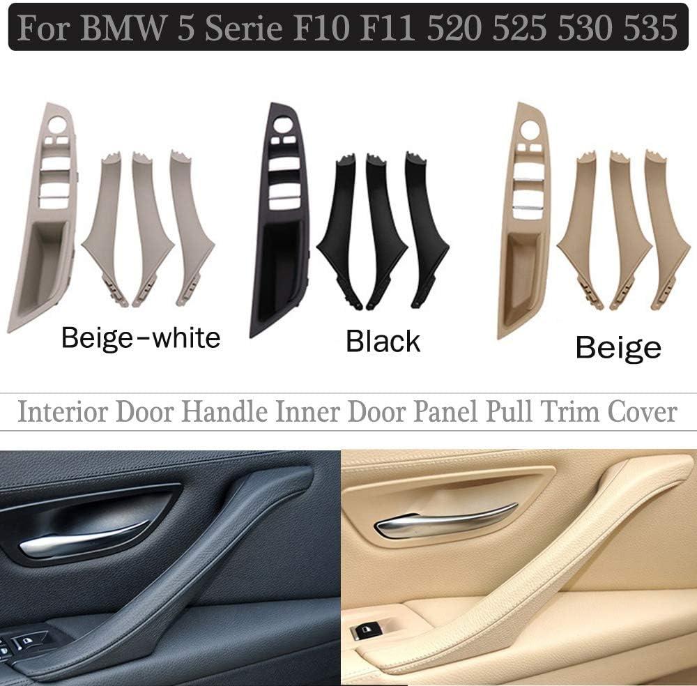 NO LOGO FJY-HANDLE Interior Doors Handle For BMW 5 serie F10 F11 535i 550i 535d 530i 520i Sedan ABS Panel Pull Trim Cover 51417225858 51417225854 Color : Beige Panel