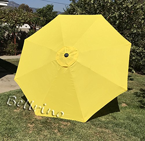 "BELLRINO DECOR Replacement YELLOW "" STRONG AND THICK "" Umbrella Canopy for 9ft 8 Ribs YELLOW (Canopy Only) For Sale"