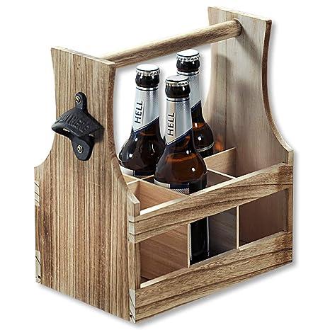 Flaschenträger geflammt 6 Flaschen Flaschenkorb Holz Bierträger Geschenk Männer