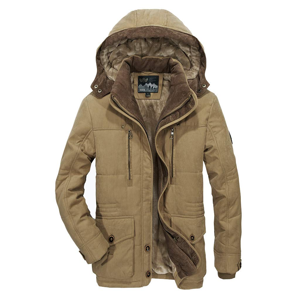 Kauneus Men's Winter Removable Hooded Frost-Fighter Sherpa Lined Midi Packable Parka Jackets Khaki by Kauneus Women Clothing