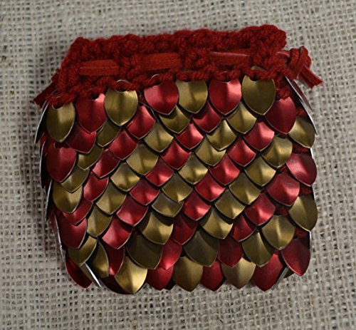 Dragonhide Dice Bag Size Medium Knitted Scale Armor - Red and Bronze - 4.5''x4.5''