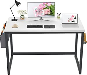 """Besiture 40"""" White Desk, Teen Small Spaces Computer Writing Desk Student Desk, Teens College Students Dorm Bedrooms Furniture, Study Writing Gaming Table for Girls, Boys, Daughter's, Son's Bedroom"""