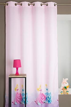 rideau disney chambre enfant fille motif princesse rose