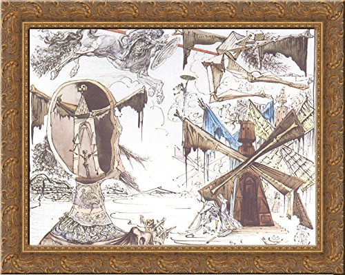 Don Quixote and the Windmills 24x20 Gold Ornate Wood Framed Canvas Art by Salvador Dali