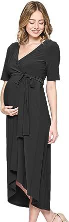 Women's Maternity Wrap Dress Midi Length with Waist Belt