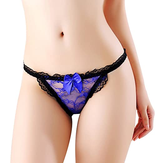 dd6adee9d5c ink2055 Women Lace Bowknot G-String Briefs See-Through Knickers Underwear  at Amazon Women s Clothing store