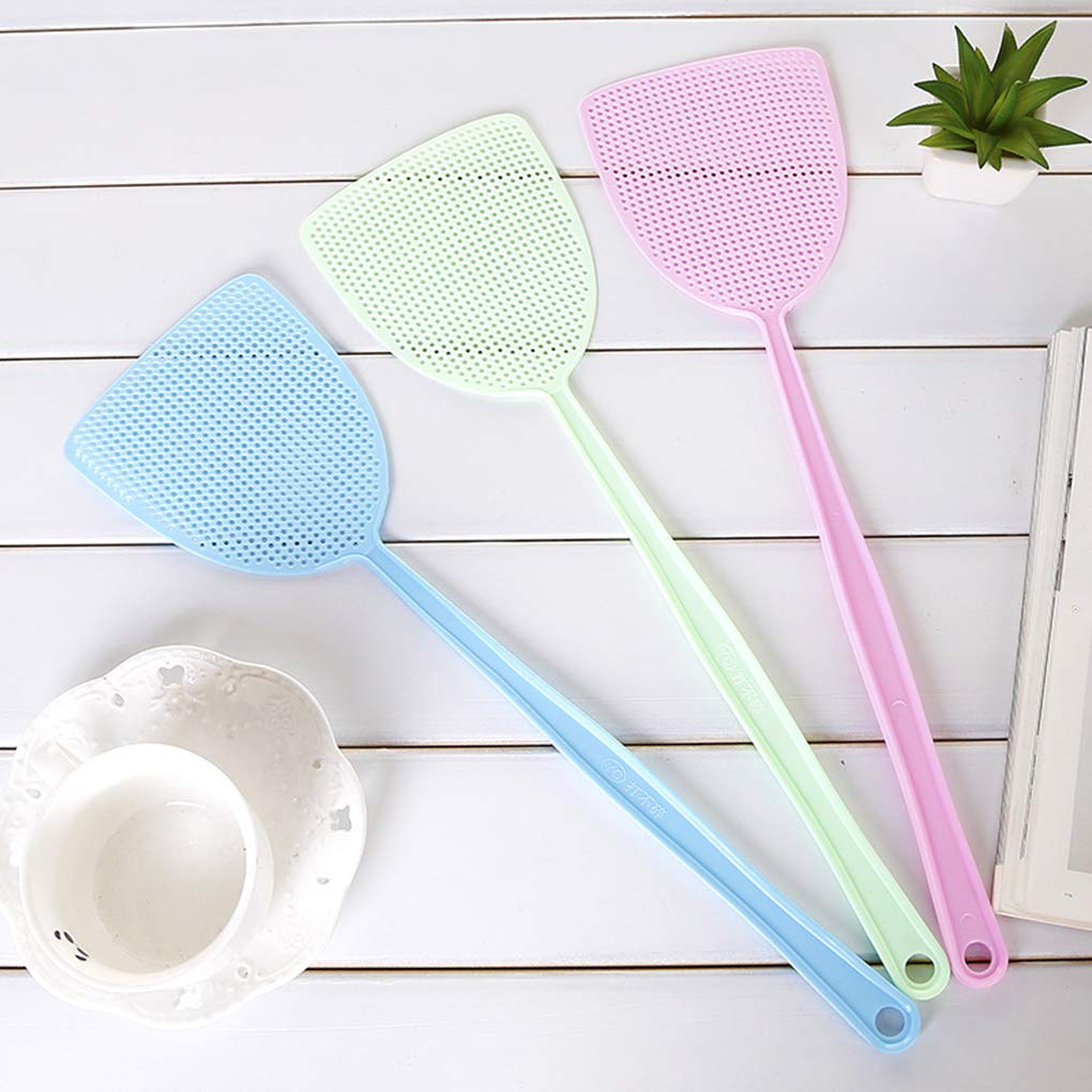 Zerama Home Kitchen Soft Manual Plastic Long Handle Fly Swatter Mosquito Insects Bugs Pest Swatter