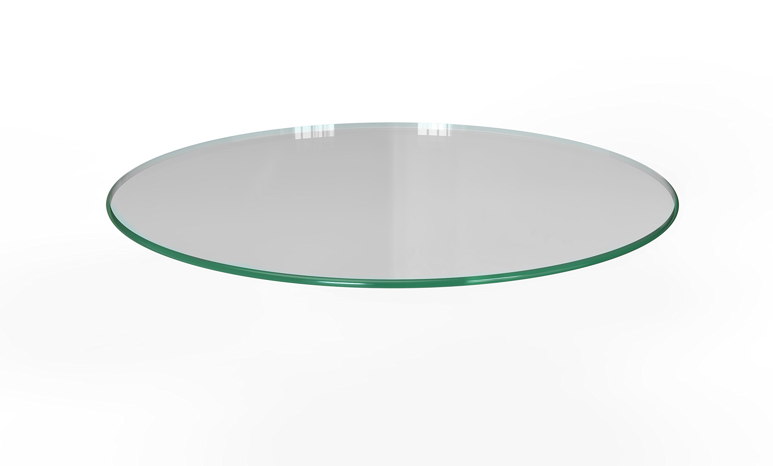 Milan RD363610PEC 36'' x 36'' Round Tempered Glass Table Top with Pencil Polish Edge