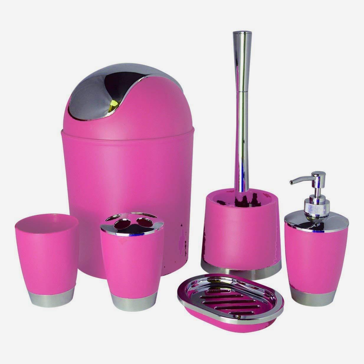 Bathlux Modern Design 6 Piece Bathroom Accessory Set , Toilet Brush , Waste Bin, Soap Dish, Tooth Brush Holder Soap Dispenser, Rinse Cup (Black)