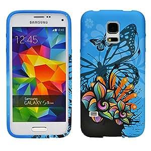 Carcasa zkiosk Samsung Galaxy S5 mini G800 diseño mariposa azul de silicona diseño de carcasa