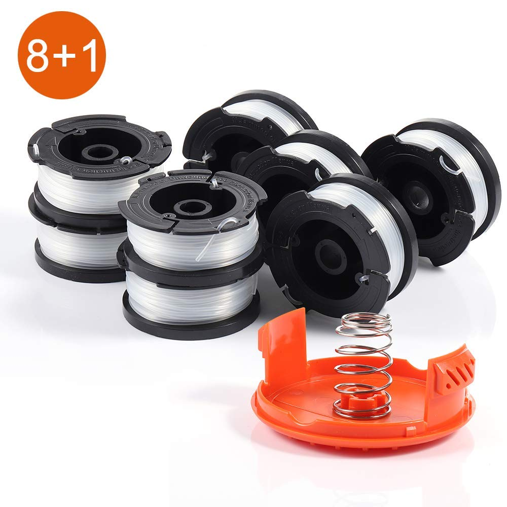 String Trimmer Spools Compatible with Black and Decker AF-100 Autofeed Weed Eater Spools, Replacement Autofeed Spool Weed Eater Spools Refills Line GH600 GH900 Edger with Spool Cap Cover (8 Spools)