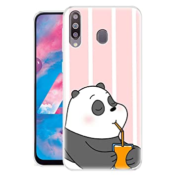 Nainz Panda Soft Silicon Printed Back Cover Case Compatible for Samsung Galaxy M30   Multicolor Cases   Covers