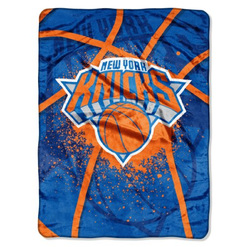 Officially Licensed NBA New York Knicks Shadow Play Plush Raschel Throw Blanket, 60