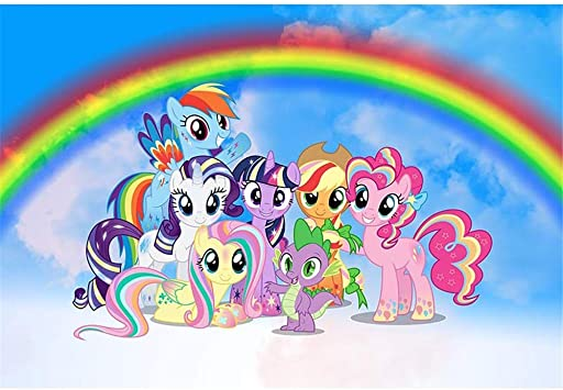 Amazon.com : Birthday Backdrop My Little Pony 7x5ft Blue Skyline ...
