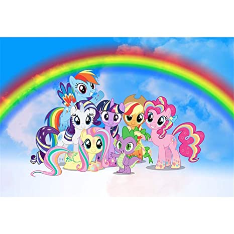 d070a197f Amazon.com : Birthday Backdrop My Little Pony 7x5ft Blue Skyline with  Cartoon Rainbow Background for Photo Studio Baby Girls Birthday Banner 1st  Boy ...