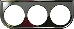 Sherco-Auto Universal Chrome Under Dash Triple Gauge Mounting Panel 2-1/16 Inch