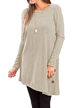 911a01d0e9fc0e Women s Plain Simple Round Neck Sleeves A-Line T-Shirt Dresses Mini-Dress