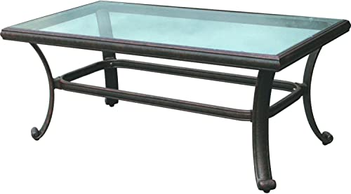 Darlee 24 x 42 Patio Coffee Table with Glass Top in Antique Bronze