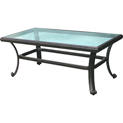 Etonnant Darlee 24u0026quot; X 42u0026quot; Outdoor Coffee Table With Glass Top In Antique  Bronze
