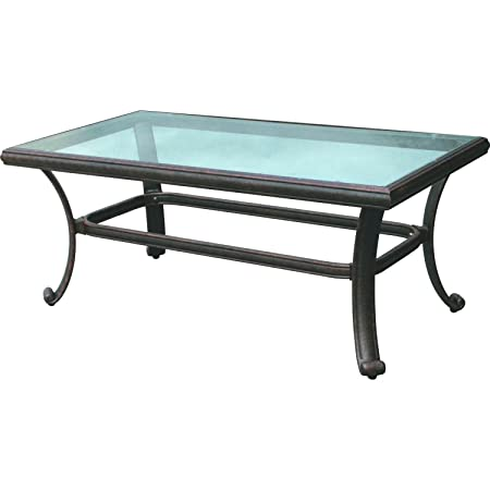 Darlee 24 x 42 Outdoor Coffee Table with Glass Top in Antique Bronze