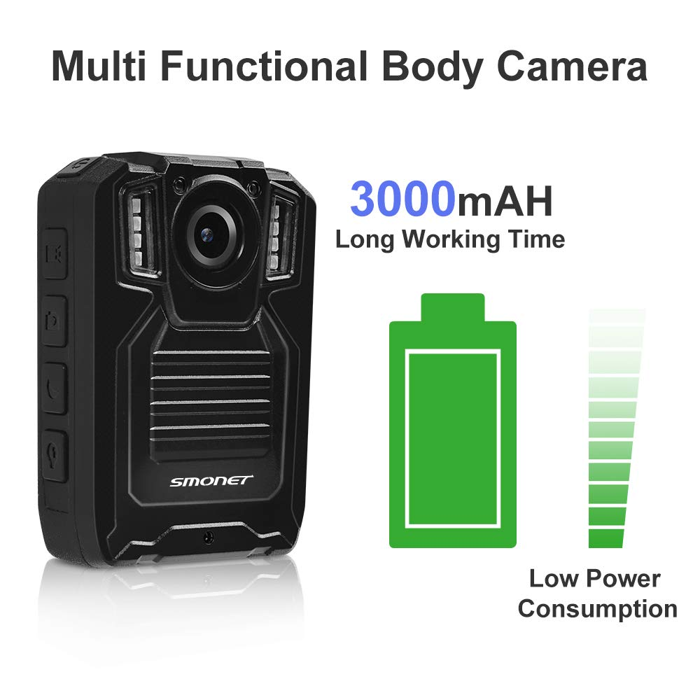 SMONET 【2019 New】 Body Camera with Audio, HD Police Body Camera(Built in 64GB),2 Inch Display Body Cameras for Law Enforcement, Body Worn Camera with Night Vision,Video Recorder,Waterproof by SMONET (Image #5)