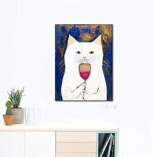 liwendi Gato Blanco Cata Vino Tinto Nórdico Lindo Simple Lienzo De Dibujos Animados Póster Sin Marco Mural Arte Pintura Moda Decoración del Hogar 40 * 60 Cm: Amazon.es: Hogar