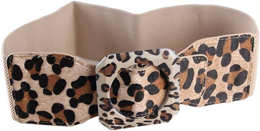 YYPD Cinturón Cinturón elástico para Mujer Cinturón elástico No poroso Cinturón Ancho para Mujer Leopardo de Pelo Decorativo Cintura de Pelo de Caballero de la Moda Decorativa 79 cm cómodo
