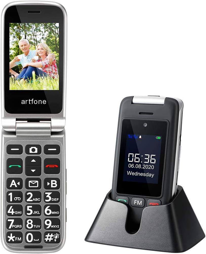 Artfone Senioren Klapphandy mit Dual-Display und Ladestation