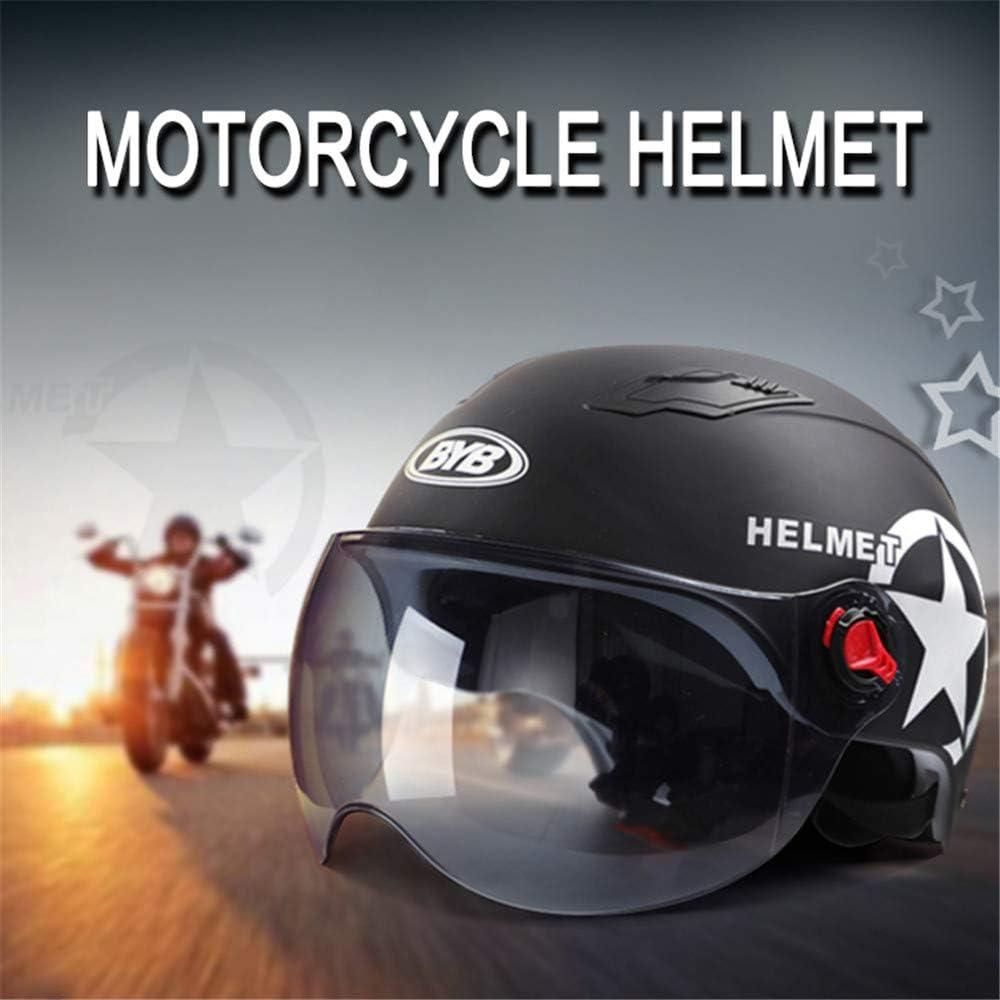 Bright Black//Transparent Lens WOSAWE Jet Casco Moto Bicicletta da Motociclista Elettrico Antiurto Traspirante Mezza Casco Estivo Protezione Solare