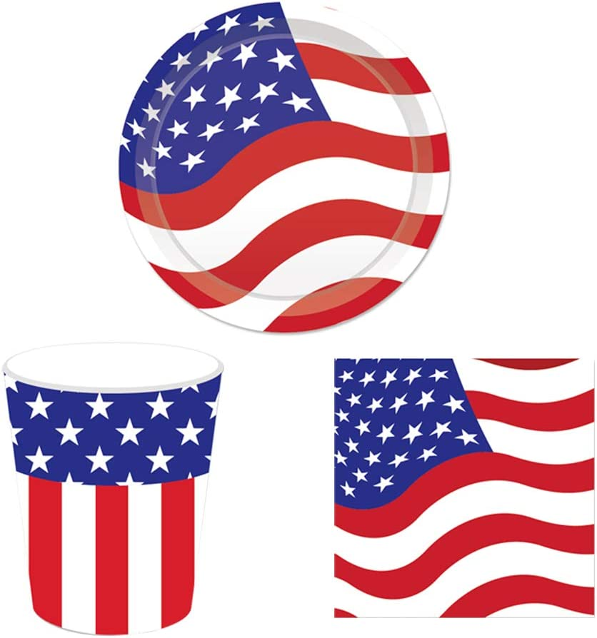 American Flag Paper Tableware Set, Fourth of July Party Disposable Tableware Set, Including Napkins, Plates, Cups